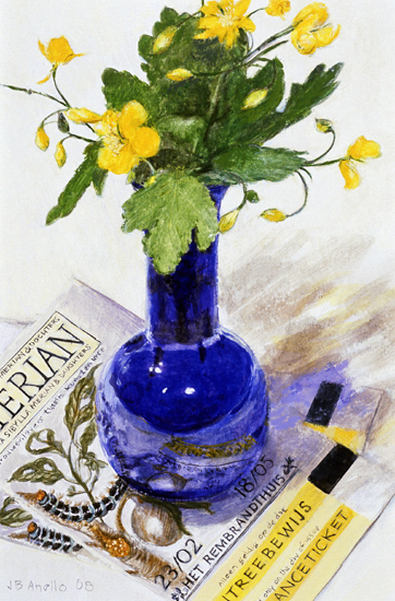 Cobalt Vase with yellow flower