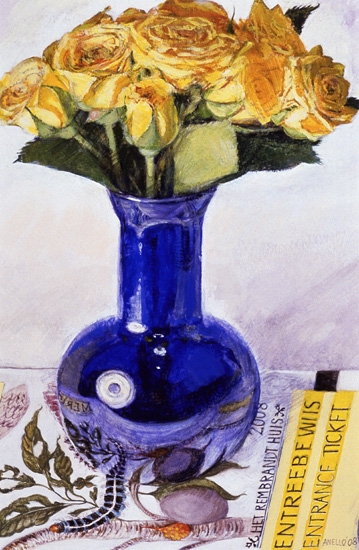 Yellow Roses in Blue Vase